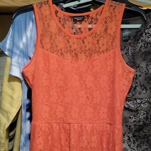 Rockwood Street Orange Lacy High Low Midi Dress